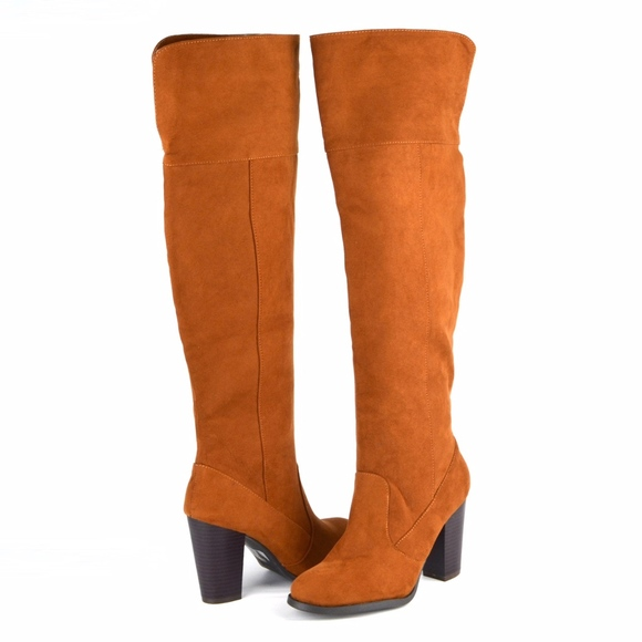 BAMBOO Shoes - BAMBOO Over The Knee Heeled Chestnut Tall  Boots